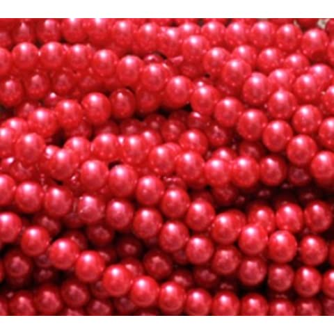 100+ pezzi Perline in vetro, rotondo, 8mm, Vetro, red, 8 mm