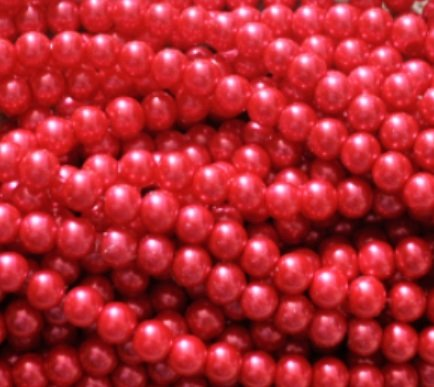 150+ PC perline in vetro, rotonda, 6mm, Vetro, red, 6 mm
