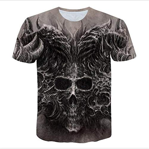 rt 2019 Sommer Casual Kurzarm 3D Digital Gedruckt T Shirt Tops Premium,3D Digitaldruck - 2 schwarz L ()