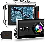ApexcamAction Cam Pro【Aggiornato】4K 20MP Fotocamera EIS WIFI 2 Pollici Ultra HD Impermeabile 40M Sott'acq