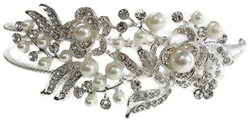 Signature Tiara Children's Beautiful Pearl and Silver Flower Design Double Headband