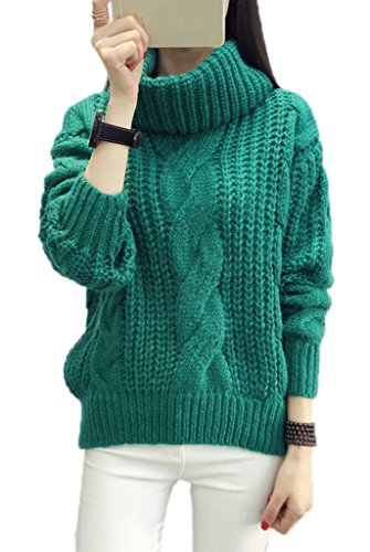 Smile YKK Pull Femme Hiver Sweat-shirt Col Roulé Sweat Manche Longue Automne Casual Tricoté Vert
