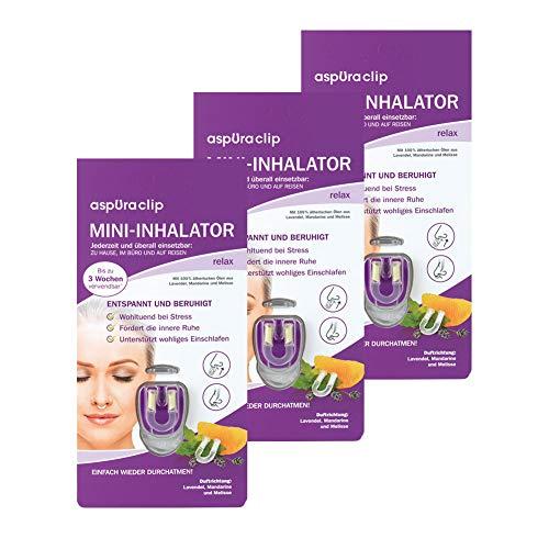 aspUraclip Mini-Inhalator relax (3er Pack) | Erster Mini-Inhalator für die Nase | Mit 100% Bio-Ölen aus Lavendel, Mandarine und Melisse | Wohltuend bei Stress & fördert die innere Ruhe