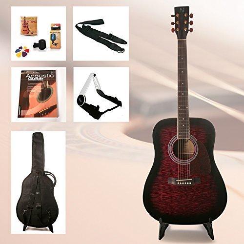 Einsteiger Westerngitarre Set School mit Zubehör und hervorragendes Gitarrenbuch incl. CD (Farbe Rot) (Dreadnought Acoustic Gitarre Pack)