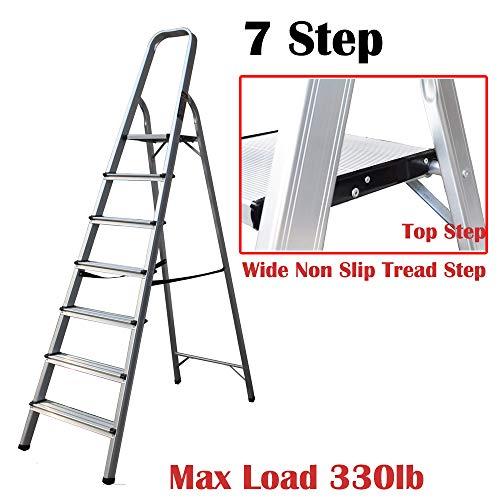 Escalera de 7 peldaños, antideslizante, de seguridad, de aluminio, ligera, portátil, multiusos, plegable...