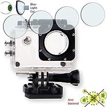 4 x Película de protección de pantalla DISAGU ClearScreen para Qumox SJ4000 Action Sport-Kamera Linse (Gehäuse) antibacterial, filtro BlueLightCut película de protección