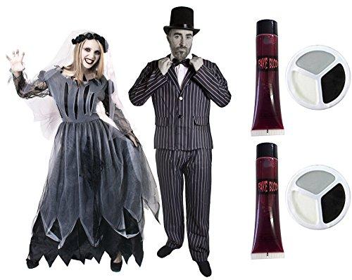 ILOVEFANCYDRESS Zombie Geister Paar KOSTÜM VERKLEIDUNG = Braut & BRÄUTIGAM Halloween Fasching Karneval =MIT + OHNE ZUBEHÖR=MÄNNER-Large & Frauen-Large/MIT (Paar Kostüm Frauen)