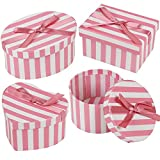 Kleine Geschenkschachteln, Schmuckaufbewahrung, Boxset für Armband/Halskette/Ohrring/Ring, 4Stück rosa streifen