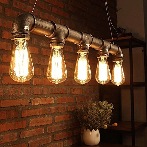 yuewei®Industrie-Loft-hängender Weinlese-Deckenleuchte-DIY Dekoration-Lampe E27 Metal Pipe