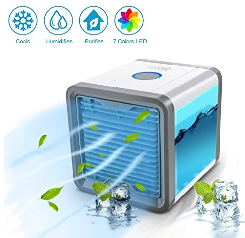 Luftkühler Tragbare Mini-Raumklimaanlage, Luftbefeuchter Und Luftreiniger Mit 7 Farbe LED-Leuchten Für Zimmer, Büro, Im Freien (7 LED-Farbe)