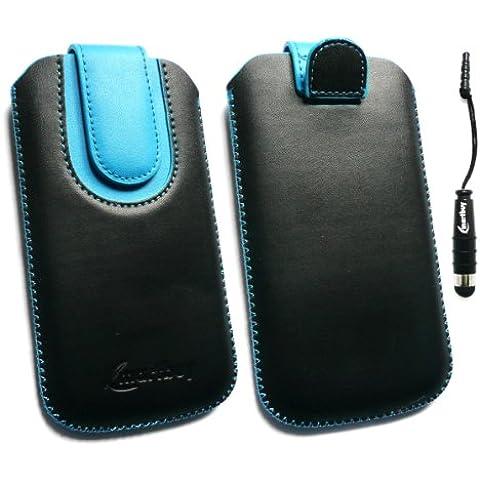 Emartbuy ® Stylus Pack Para Lg P990 Optimus 2X Negro / Azul Slide Cuero De Primera Calidad De Pu En La Bolsa / Caja / Manga / Soporte (Tamaño 3Xl) Con El Mecanismo De Lengüeta + Metálicos Mini Negro Stylus + Protector De