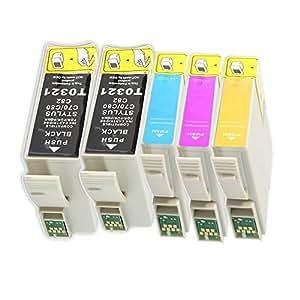 5 compatible cartouches d'encre pour Epson Stylus C70 C80 à remplacer Epson T0321/ T0322/ T0323/ T0324