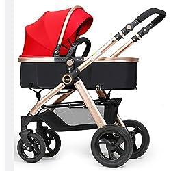 Poussette ERRU- Pliant pouvez vous asseoir Allongez-deux voies légèrement de transport et d'hiver d'été à double usage pour bébé Chariot champagne couleur or citadines