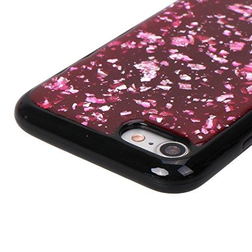 iPhone 7/8 Schale Glitter Case, iPhone 7 Glitter Case, iPhone 8 Glitter Case, Moon mood® Ultra Slim Thin 3D Bling Strass Hülle Gliter Handytasche Kristall Schutzhülle für Apple iPhone 7/8 4.7 Zoll TPU Rot