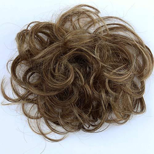 PRETTYSHOP 100% Echthaar Humanhair Haargummi Haarteil hairpiece Haarverdichtung Zopf Haarband Haarschmuck div. Farben (braun mix #4H27)