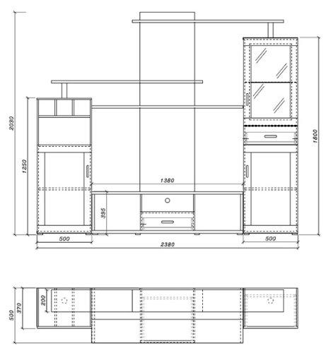 Wohnwand Anbauwand sonoma eiche / schwarz Hochglanz - 2