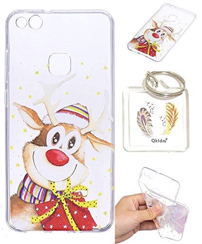 Preisvergleich Produktbild Hülle Huawei P10 Lite TPU schutz silikonhülle, Weihnachtsgeschenke niedlichen cartoon bild transparent handy Hülle für Huawei P10 Lite + schlüsselanhänger (* / 64) (1)