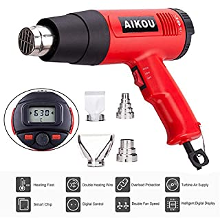 1800W Heat Gun AIKOU 220V Adjustable Temperature 50~630℃ Hot Air Gun with Rear LCD Display Digital Controls Fast Heating Blower Kits for Stripping Paint, Soldering Pipes, Shrinking PVC(Red)