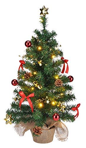 Bambelaa! Künstlicher Weihnachtsbaum Christbaum 75cm komplett geschmückt dekoriert mit Kugeln, Sternen, Tannezapfen, Schleifen, Sternengirlande inklusive 20er LED Lichterkette 1 Stück (versch. Farben) (Rot/Gold)
