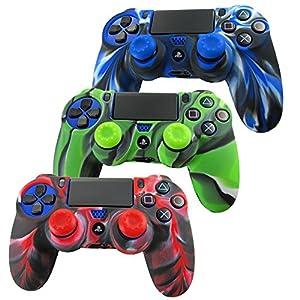 Pandaren® Silikon hülle skin für PS4 controller x 3 + thumb grip aufsätze x 6 (Tarnung rot blau grün)