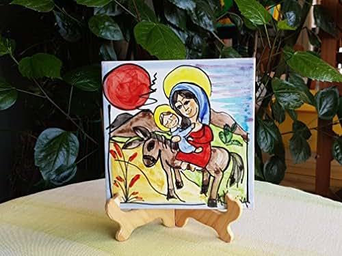 Mattonella in ceramica siciliana dipinta a mano. idea regalo di