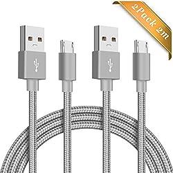 Elegear Câble USB Samsung S6 Lot de 2 / 2m Câbles Micro USB Nylon Charge/Synchro Rapide pour Samsung Galaxy S4, S5, S6 Edge, S7, Note3 / 4/5, J7/3,/J5, Huawei P10 / P9 / P8 Lite,Kindle [Gris]