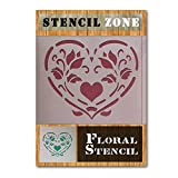 Amor del corazón floral lamentable de la vendimia de la elegancia de Mylar pintura del arte de la plantilla Muebles (A4 Tamaño de la plantilla - Pequeño)