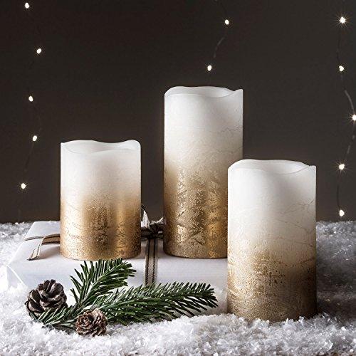 Lights4fun - Juego de 3 Velas Pillar LED a Pilas en Cera Blanca con Efecto Ombré Oro