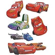 "6 tlg. Set: 3-D Wandtattoo / Fensterbild / Sticker - "" Disney Cars Lightning McQueen "" - wasserfest - selbstklebend Pop-Up Aufkleber Wandsticker Auto"