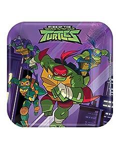Amscan International Amscan 542209 - Platos de papel cuadrados (18 cm, 8 unidades), diseño de tortugas ninja