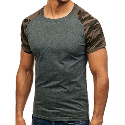 Herren Shirt, Sommer Camouflage Drucken Tee Rundhalsausschnitt Kurzarm T-Shirt Sweatshirt Tanktop Fitness Muskelshirt (L, Grau) (Tee-shorts-leggings)