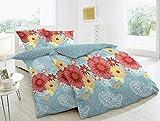 Hahn Renforce Wende-Bettwäsche Blüte auf blauem Grund 135x200 cm