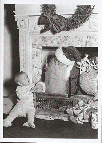 Tarjeta de Navidad con imagen vintage de Papá Noel en el chimenea