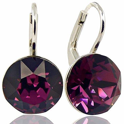 Ohrringe mit Kristalle von Swarovski® Silber Rot Lila Amethyst NOBEL SCHMUCK (Kristall Schmuck Lila)