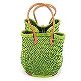 Leichter Einkaufskorb/Korbtasche | Handarbeit | Fair Trade (Grün)