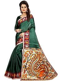 JENCY FASHION Kalamkari 4 Silk Saree With Blouse (GREEN)