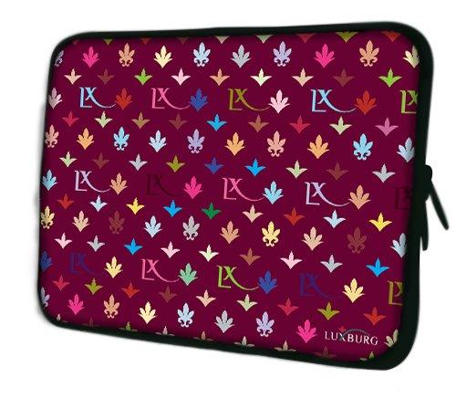 Luxburg® Design Laptoptasche Notebooktasche Sleeve für 17,3 Zoll, Motiv: Strümpfe LX Muster weinrot