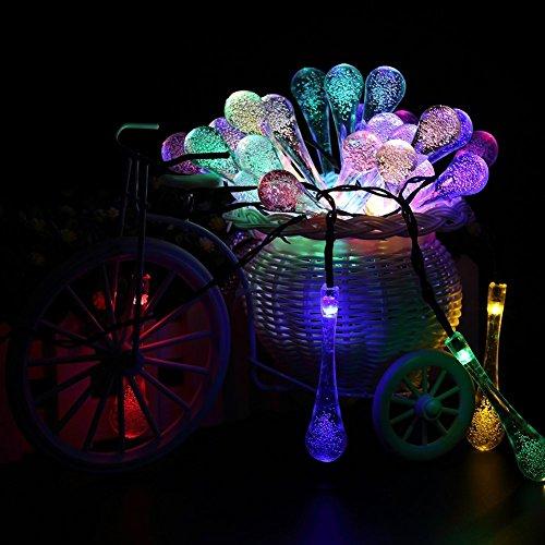 GDEALER Solar Outdoor Lichterkette 6 Meter 30 LEDs Wassertropfen Solarbetrieben Lichterkette Wasserfest Weihnachten Dekoration für Garten, Terrasse, Hof, Haus, Weihnachtsbaum, Feiern – RGB - 4