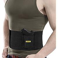 Banda táctica, cinturón de seguridad con funda, banda elástica negra, defensa simulada del vientre, con 1bolsillo para pistola y 2bolsas