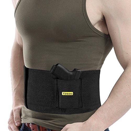 ZJchao Elastische Taktische Belly Band Taille Pistolenholster Gürtelholster mit 2 Magazintaschen, Schwarz