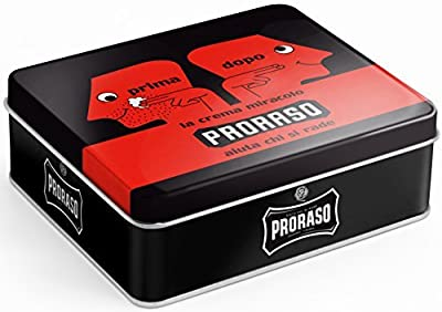 Proraso Primadopo Vintage Selection Tin Contains the Red Shea Butter and Sandalwood Range
