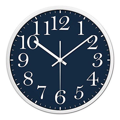 Komo con movimento silenzioso sweep creative soggiorno orologio da parete minimalista classico sfondo blu tabella vassoio super silent orologio da parete,12 pollici,bianco