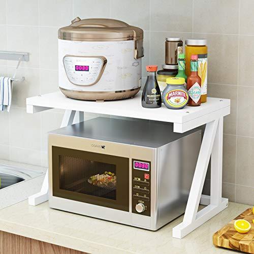 Gestelle Küchengestelle Mikrowellenherd Küchengeschirr Mehrschichtiges Würzregal mit Bodenbefestigung Aufbewahrungsgestell für Backöfen All White 53,0 x 40,0 x 6,0 cm