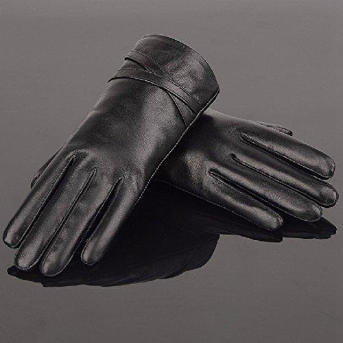 ZHGI Guanti in pelle nera, signore inverno manicure sottili