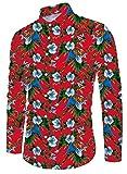 Funnycokid Herren Lässig Shirt Irre 3D Druck Langarm Coloful Vintage Blumen Hawaii Hemd XXL