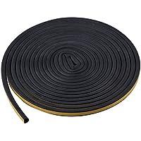 TRIXES 5M Burlete Autoadhesivo Negro Sellar Ventana Tira de Sellado en Forma de D