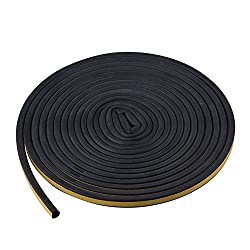Door Insulation Strip - 5M Black Self Adhesive Window Sealing Strip for Door and Window Draft Exclusion D Shaped - By TRIXES