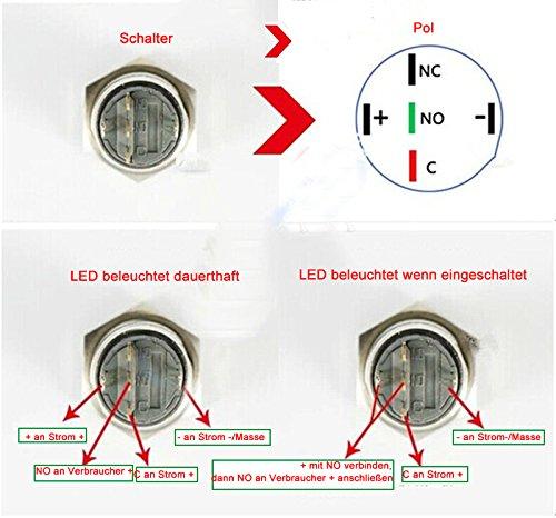 Billig HOTSYSTEM 16mm 12V Metall Reset Taster LED Beleuchtet ...