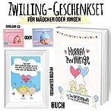 Geschenkset für Zwillinge mit Erinnerungsbuch für das 1. Babyjahr zum Eintragen - Bild mit Rahmen und Spruch und Spieluhr CD zum Einschlafen - Wunderschönes Willkommenpaket zur Geburt