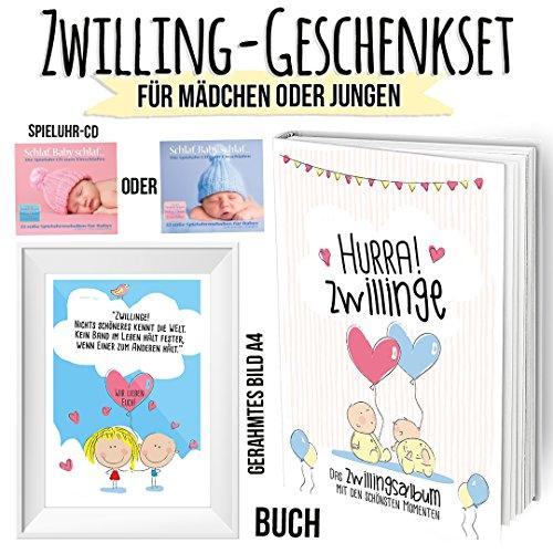 Geschenkset für Zwillinge mit Erinnerungsbuch für das 1. Babyjahr zum Eintragen - Bild mit Rahmen und Spruch und Spieluhr CD zum Einschlafen - Wunderschönes Willkommenpaket zur (Was Mädchen Eins Was Junge Zwei Und Und Kostüme)